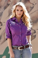 Cruel Womens Long Sleeve Solid Snap Western Shirt - Purple