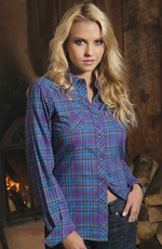 Cruel Womens Long Sleeve Plaid Snap Western Shirt - Purple