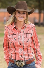 Cruel Womens Long Sleeve Stripe Snap Western Shirt - Brown
