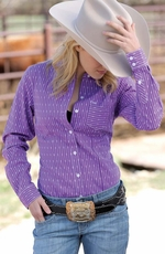 Cruel Womens Long Sleeve Striped Button Down Western Shirt - Purple
