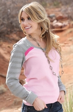 Cruel Womens Long Sleeve Thermal Lace Top - Pink