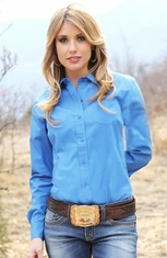 Cruel Womens Solid Button Down Western Shirt - Blue