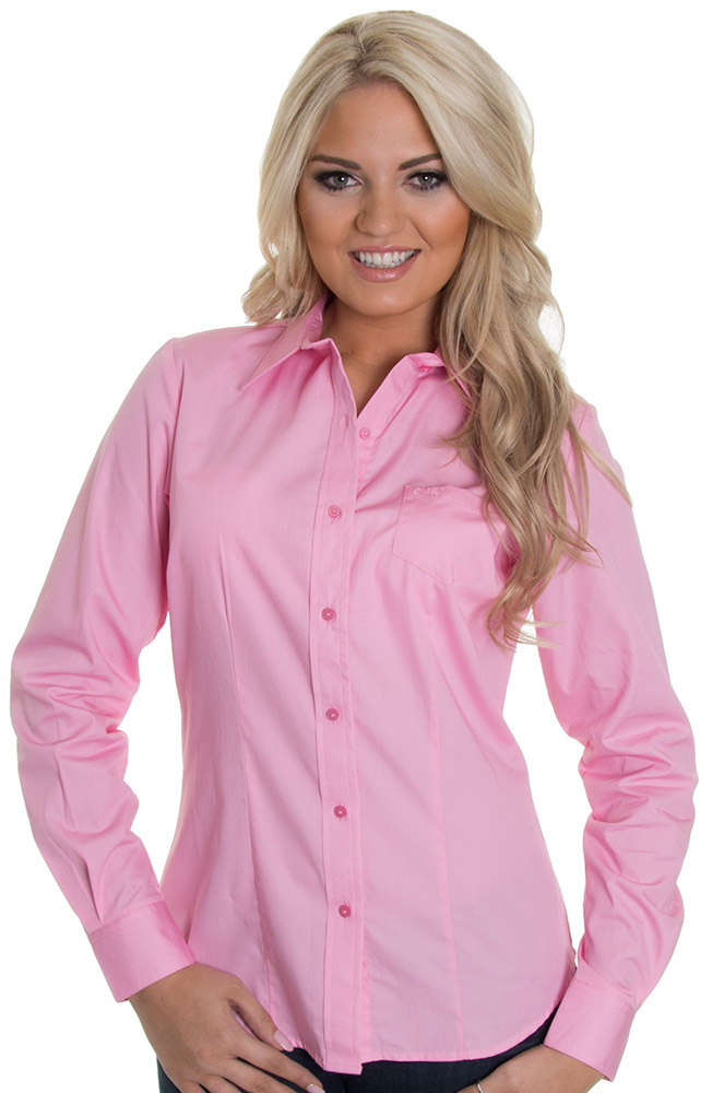 Cruel Womens Solid Button Down Western Shirt - Cotton Candy Pink