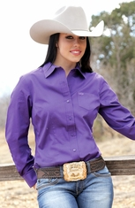 Cruel Womens Solid Button Down Western Shirt - Purple