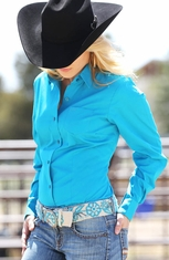 Cruel Womens Solid Button Down Western Shirt - Teal (Closeout)