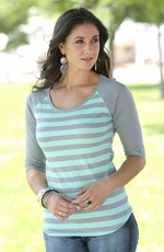 Cruel Womens Striped Shimmer Top - Grey