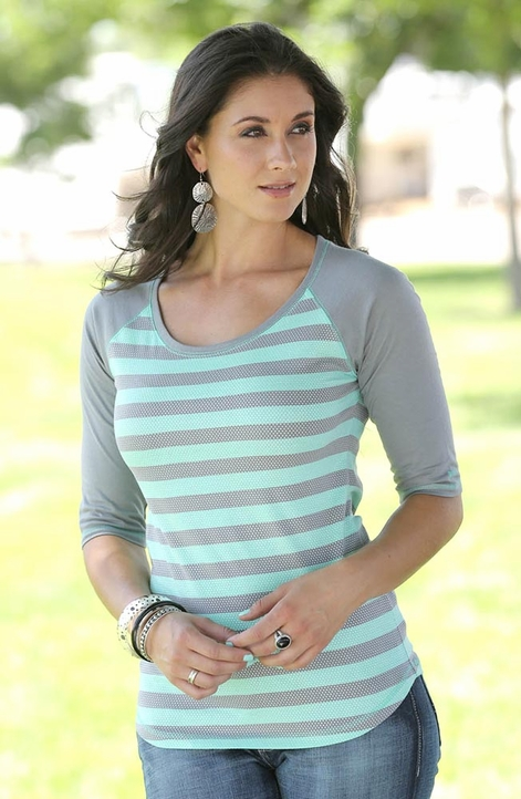 Cruel Womens Striped Shimmer Top - Grey (Closeout)