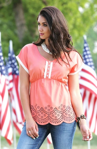 Cruel Womens Laser Cut V-Neck Top - Coral (Closeout)