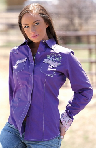 Cruel Womens Long Sleeve Embroidered Solid Snap Western Shirt - Purple