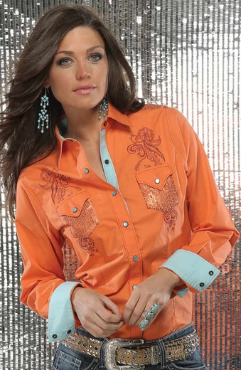 Cruel Womens Long Sleeve Sequin Snap Western Shirt - Orange
