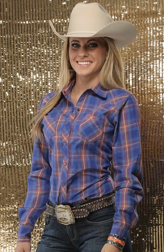 Cruel Womens Long Sleeve Shiny Plaid Snap Western Shirt - Blue