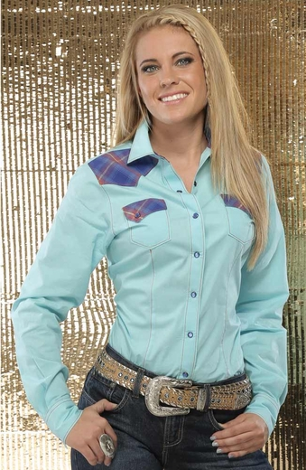 Cruel Womens Long Sleeve Solid Contrast Plaid Snap Western Shirt - Blue (Closeout)