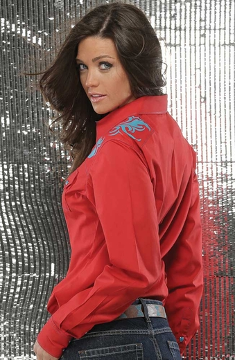 Cruel Womens Long Sleeve Solid Snap Western Shirt - Red