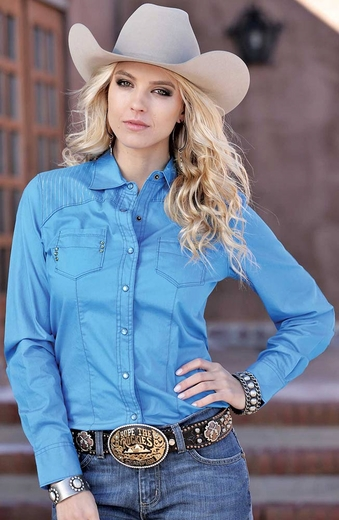 Cruel Womens Long Sleeve Solid Snap Western Shirt - Royal