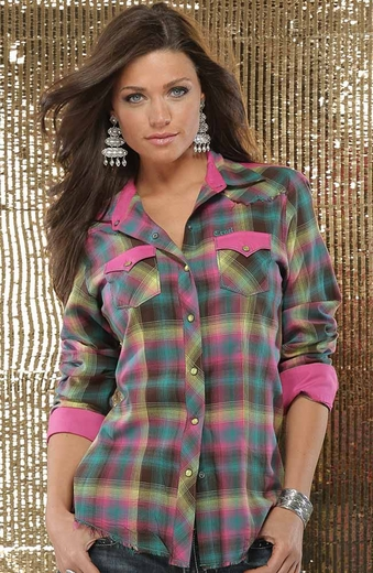 Cruel Womens Plaid Snap Western Shirt - Pink