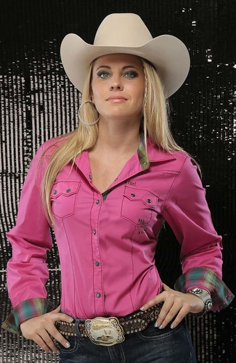 Cruel Womens Solid Snap Western Shirt with Contrasting Cuffs - Pink