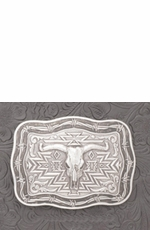 "Crumrine Men's 3.25"" x 4.75"" Rectangle Belt Buckle with Steer Skull (Closeout)"