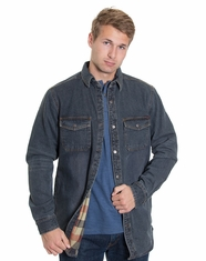 Dakota Grizzly Men's Luke Flannel Lined Denim Shirt - Indigo