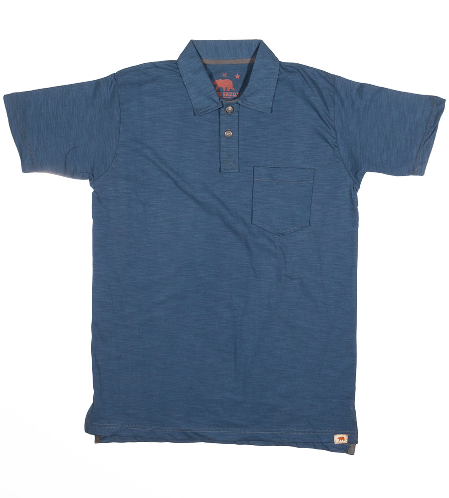 Dakota Grizzly Mens Asher Short Sleeve Solid Polo Shirt - Lake (Closeout)