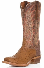"Dan Post Mens Full Quill Ostrich 13"" Cowboy Boots - Bay Apache (Closeout)"