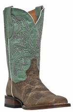 "Dan Post San Michelle 11"" Cowboy Boots - Dark Tan/ Blue"