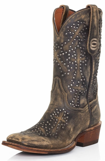 Dan Post Womens Studded Cross Boots - Tan