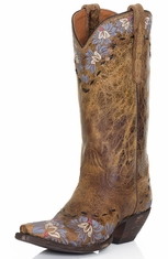 Dan Post Womens Daisy Blue Cowboy Boots - Tan Sanded