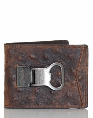 DBL Barrel Men's Bi-Fold Ostrich Print Money Clip With Bottle Opener - Brown