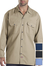 Dickies Long Sleeve Work Shirt - Khaki, Black, Navy or Gulf Blue