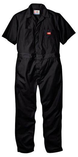 Dickies Men's Short Sleeve Coveralls - Black, Medium Blue, Navy, Gray, or Khaki