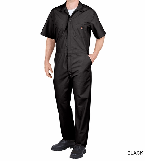 Dickies Men's Short Sleeve Coveralls - Black or Medium Blue (Closeout)