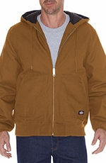 Dickies Mens Rigid Duck Hooded Jacket - Brown Duck (Closeout)