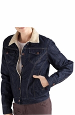 Dickies Women's Sherpa Lined Denim Jacket - Dark Indigo Black