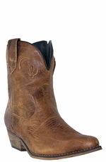 "Dingo Women's Adobe Rose 7"" Boots with Side Zipper - Light Brown (Closeout)"