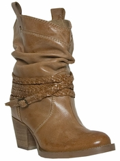 "Dingo Women's Twisted Sister 7"" Belted Boots - Tan"