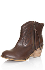 Dingo Womens Crave Side Zip Ankle Cowboy Boots - Brown (Closeout)