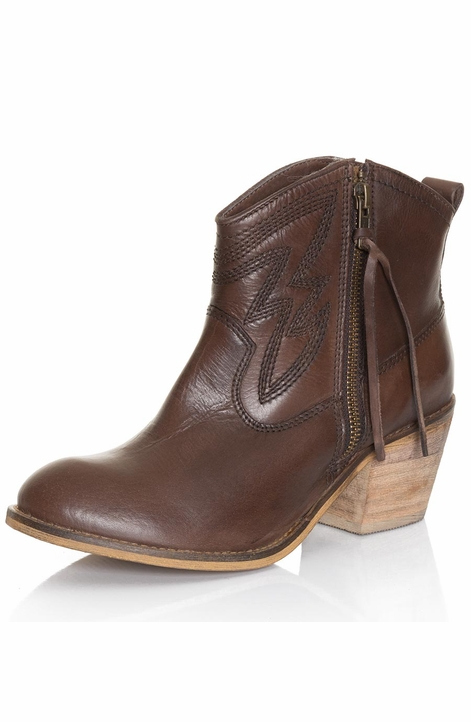 Dingo Womens Crave Side Zip Ankle Cowboy Boots - Brown