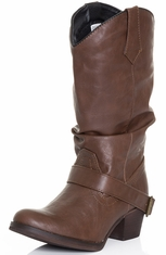Dingo Womens Pretender Slouch Cowboy Boots - Dark Brown (Closeout)
