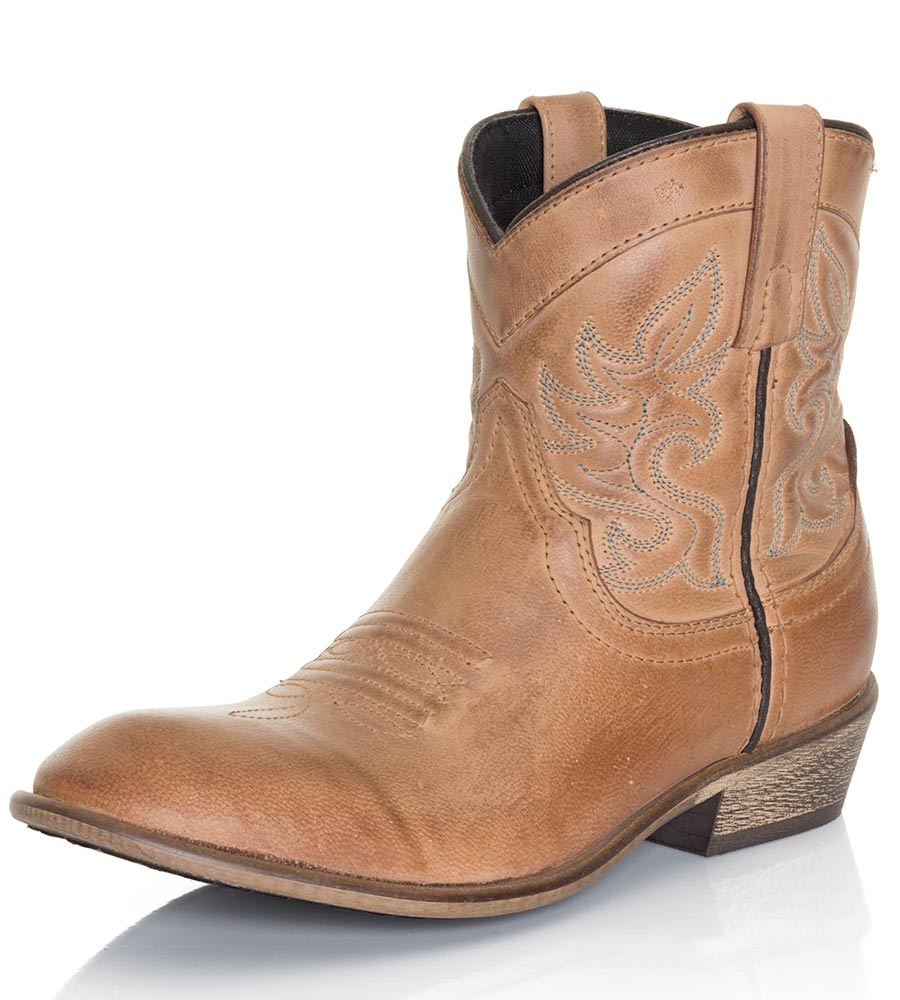 Dingo Womens Willie Ankle Cowboy Boots - Antique Tan