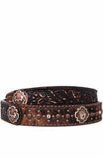Double J Saddlery Men's Brindle Hair Belt with Ladies and Aces Conchos (Closeout)