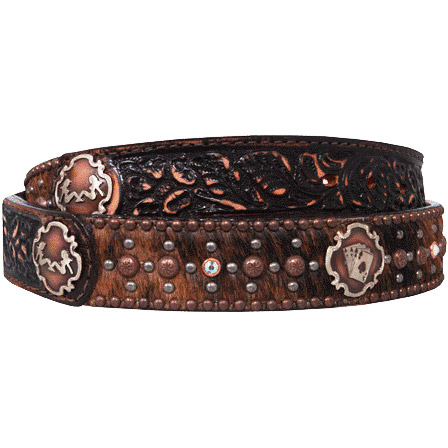 Double J Saddlery Men's Brindle Hair Belt with Ladies and Aces Conchos
