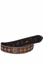 Double J Saddlery Men's Brindle Hair Belt with Studs and Crystals