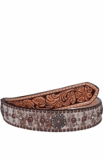 Double J Saddlery Men's Roan Hair Belt with Crystals and Star Conchos