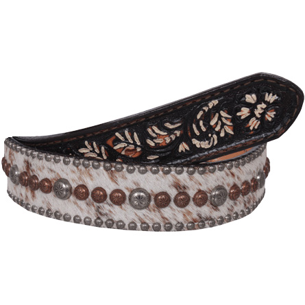 Double J Saddlery Men's Roan Hair Belt with Fancy Studs