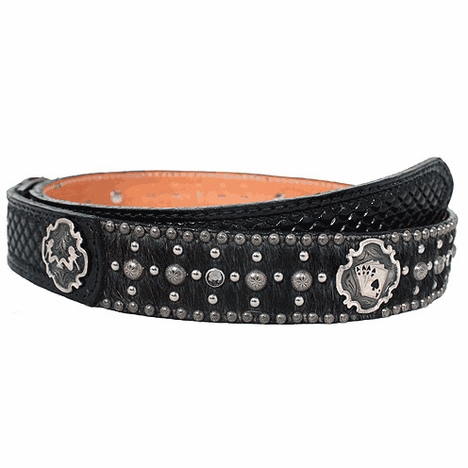 Double J Saddlery Men's Tooled Cross Belt with Ladies and Aces Conchos