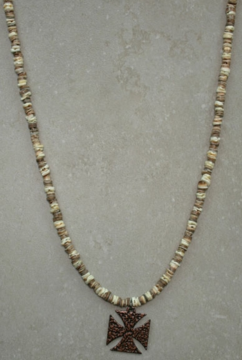 Dude Gear Men's Beige Shell Necklace with Cross