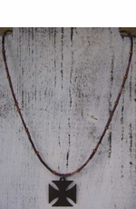 Dude Gear Men's Brown Tube Necklace with Cross
