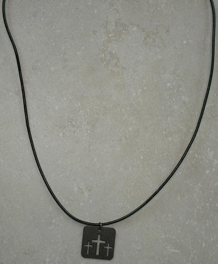 Dude Gear Men's Leather Necklace with Triple Cross Dog Tag