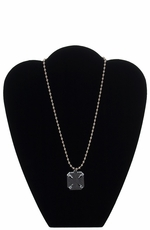 Dude Gear Men's Silver Ball Chain Necklace with Maltese Cross Dogtags