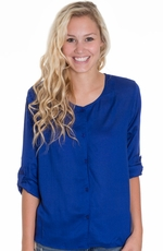 Emma G Womens 3/4 Button Down Top - Royal Blue (Closeout)